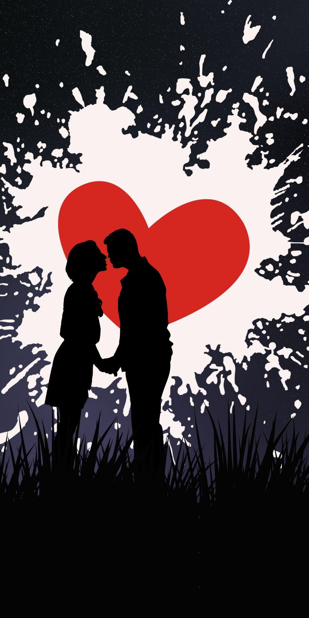 Silhouette Artwork Couple Kiss Love Wallpaper Love Wallpaper Art Wallpaper Artwork