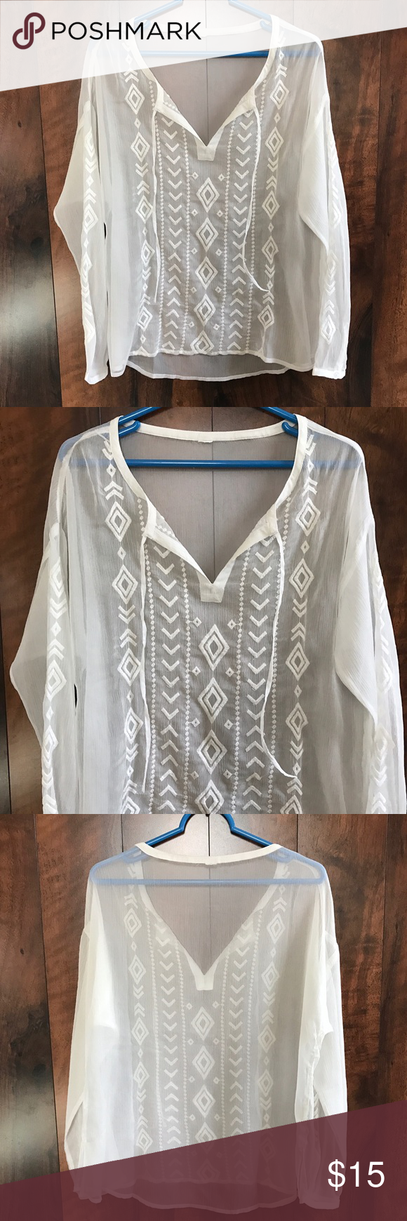 White Sheer Boho Blouse Excellent used condition. Sheer white with embroidered design down the front and down the sleeves. Button cuff. Tops Blouses