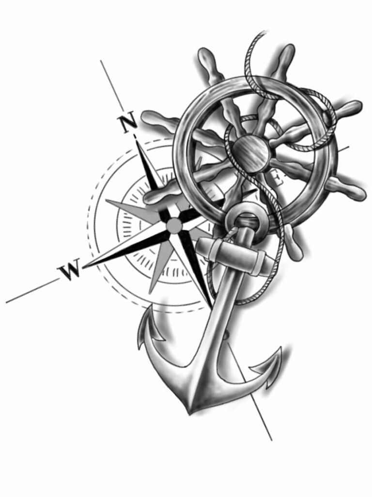 anchor compass and wheel by chanlung168 tatted up. Black Bedroom Furniture Sets. Home Design Ideas