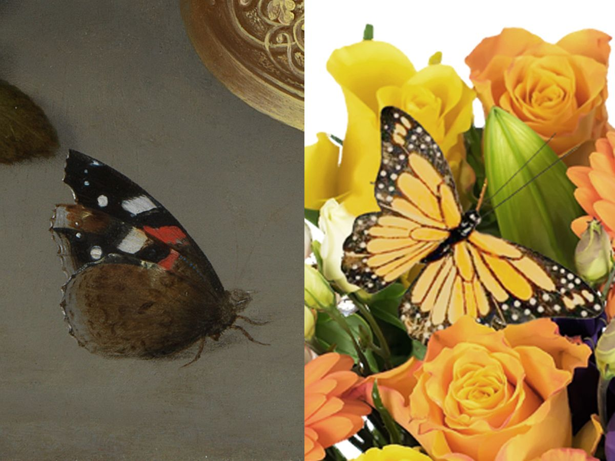 """""""Let us not forget that often hidden amongst Bosschaert's paintings is a hungry creature ready to take advantage of the nectar filled feast before them. In this case we have added the painterly butterfly."""" – Prestige Flowers #NGArtBouquet #Bouquet #Florist #Flowers #Art"""