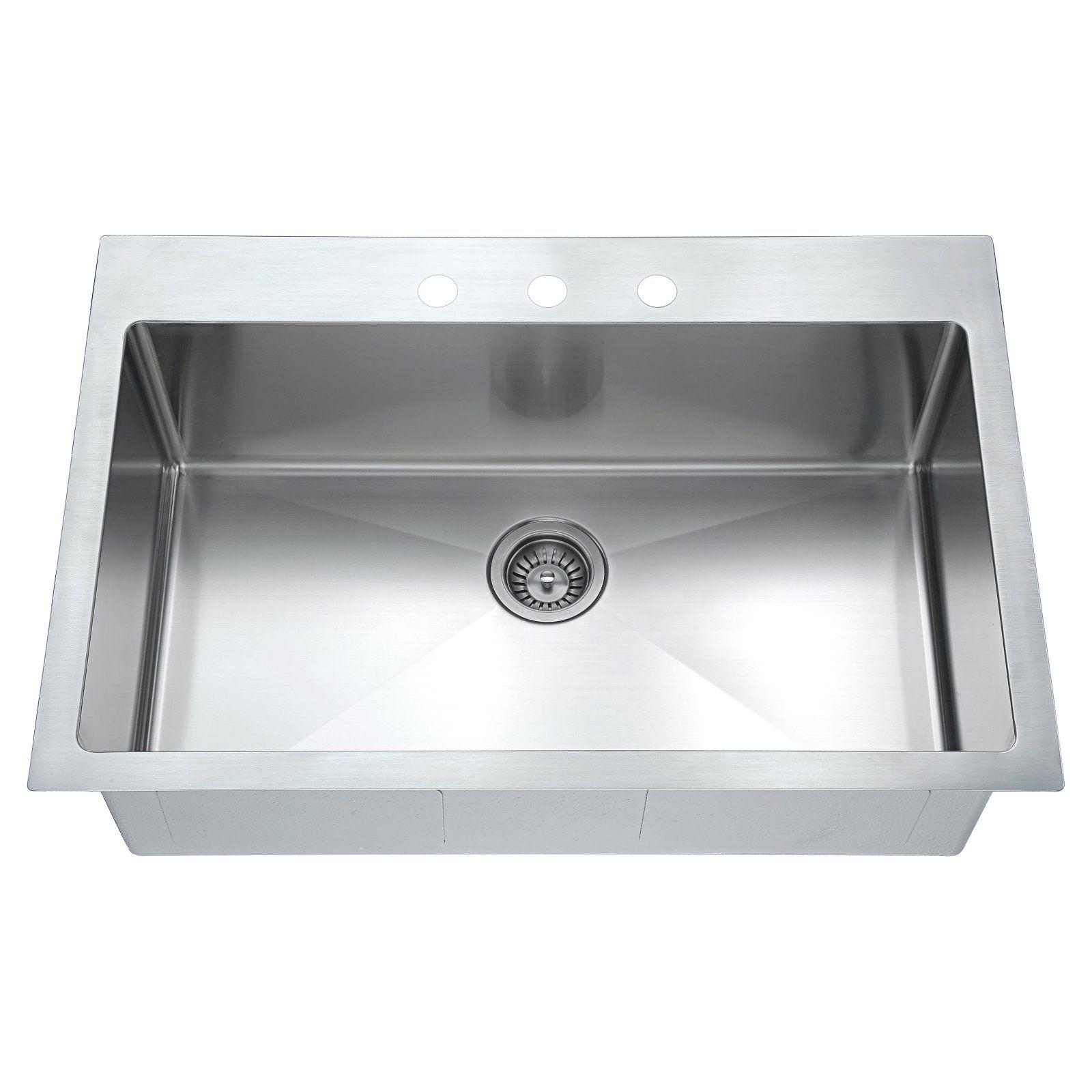 Dawn Ast104 Top Mount Single Bowl Stainless Steel Kitchen Sink