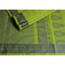#Summer is in and grabs this Parrot #green and #grey border #saree without batting an eyelid! The #beautiful thilagams on the pallu and body add more charm, isn't it?