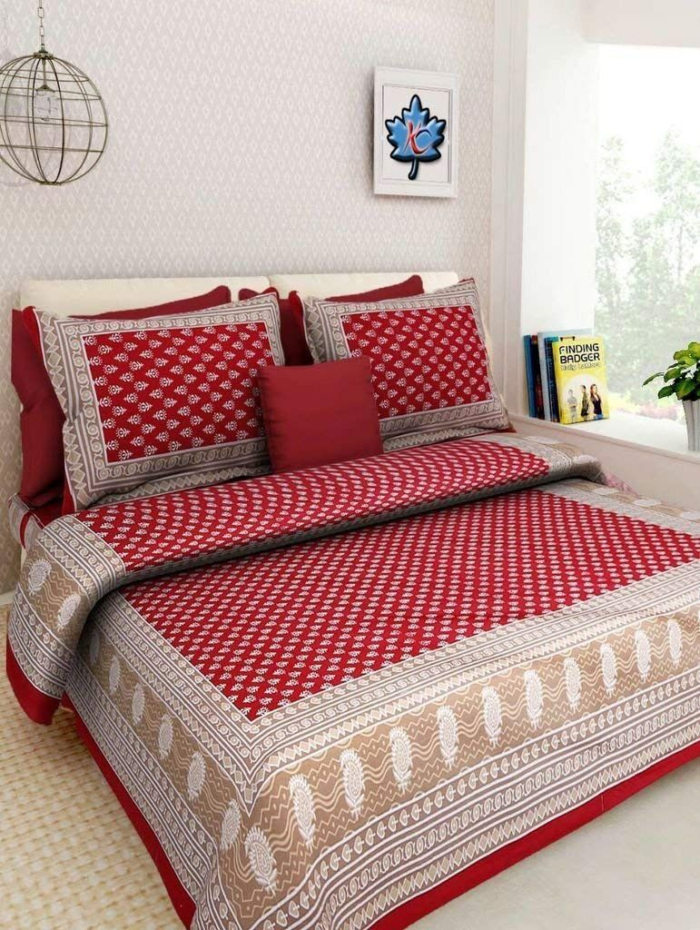 64 Off On 100 Cotton Rajasthani Tradition King Size Double Bedsheet With 2 Pillow Cover Bed Sheets Traditional Bed Sheets King Size Bed Sheets