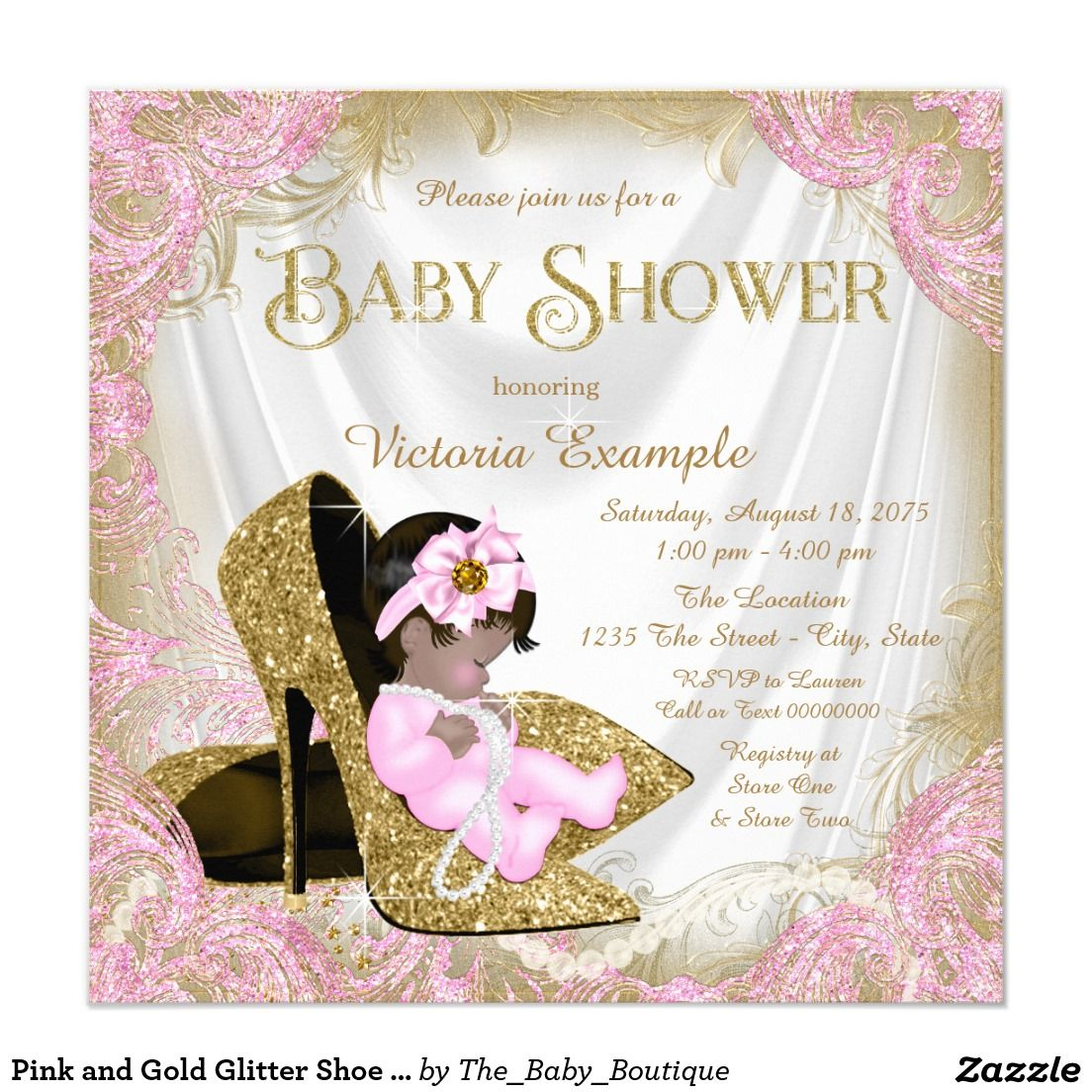 Pink and Gold Glitter Shoe Pearl Baby Shower Invitation | baby stuff ...