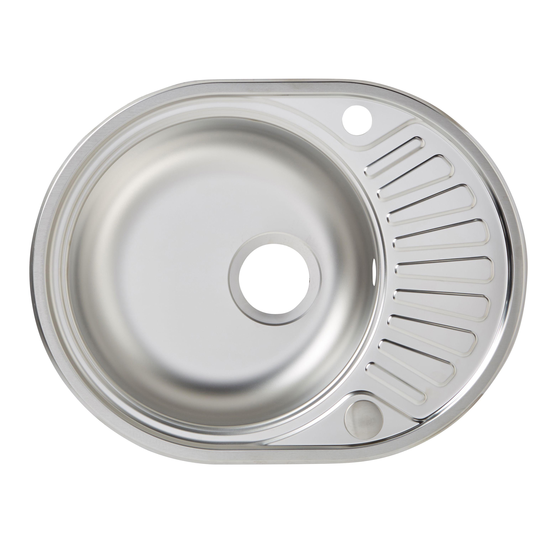 Lie 1 Bowl Stainless Steel Round Sink Half Drainer