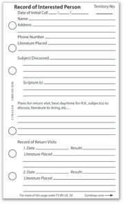 Large Field Service Record Book — Return Visit Pages $1 50