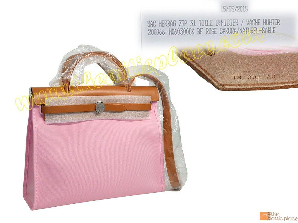 9f9133075be1 Hermes Herbag Zip 31cm Rose Sakura  Natural Sable T Stamp Calf Leather