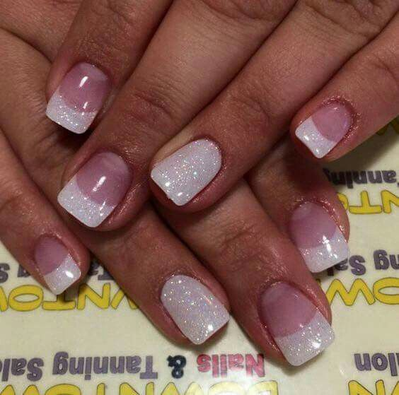 Love the white glitter french | Ongle | Pinterest | Uña decoradas ...