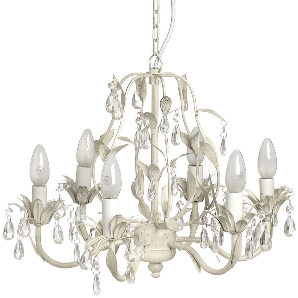 Crystal effect drop with leaf motif chandelier lighting 6 light arm chandelier ceiling pendant shabby french chic cream in home furniture diy lighting ceiling lights chandeliers arubaitofo Images