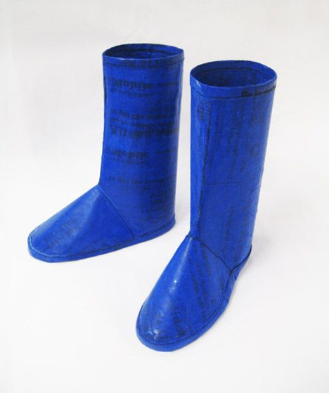 Make A Splash In The Green Movement As Well This Rainny Weather Rainboots Made Out Of Plasticbags Plastic Diy Fuse Craft Upcycle