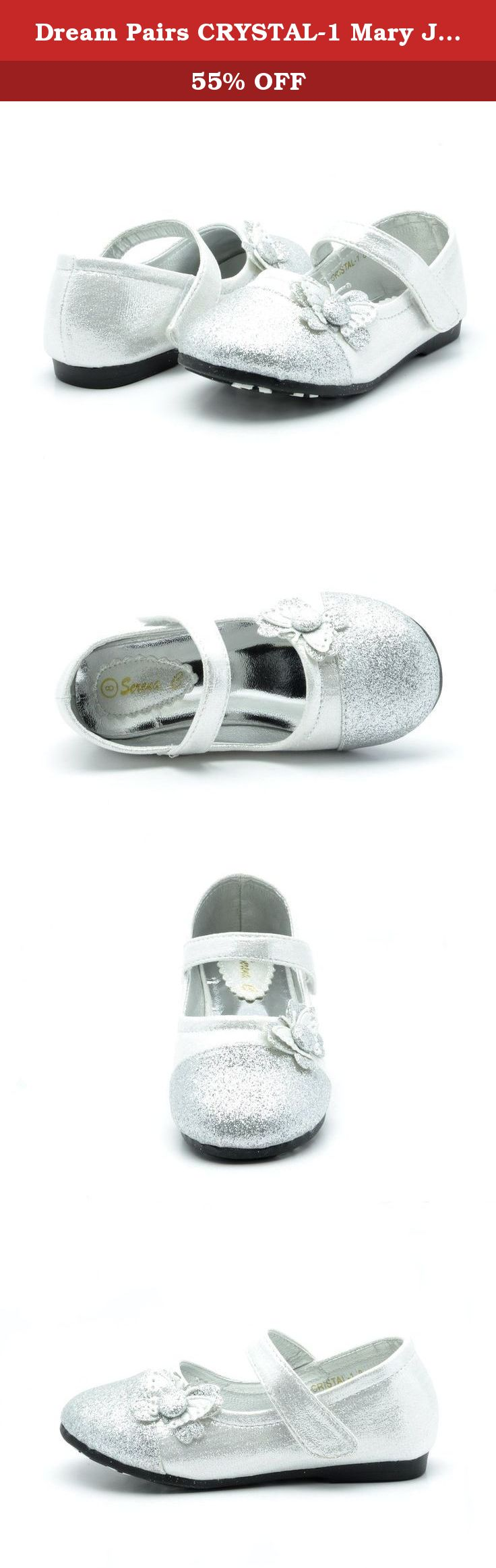 Dream Pairs CRYSTAL-1 Mary Jane Velcro Butterfly Glitter Ballerina Flat (Toddler/ Little Girl) New Silver Size 3. Your little angel will look very cute with a pair of this Dream Pairs girl's butterfly gliter ballet flat. Feature a beautiful pearl suede cut-out butterfly side-piece on vamp, extra padding for comfort. Pick from one of the assorted colors and mix and match with her favorite legging and dress for an adorable style.