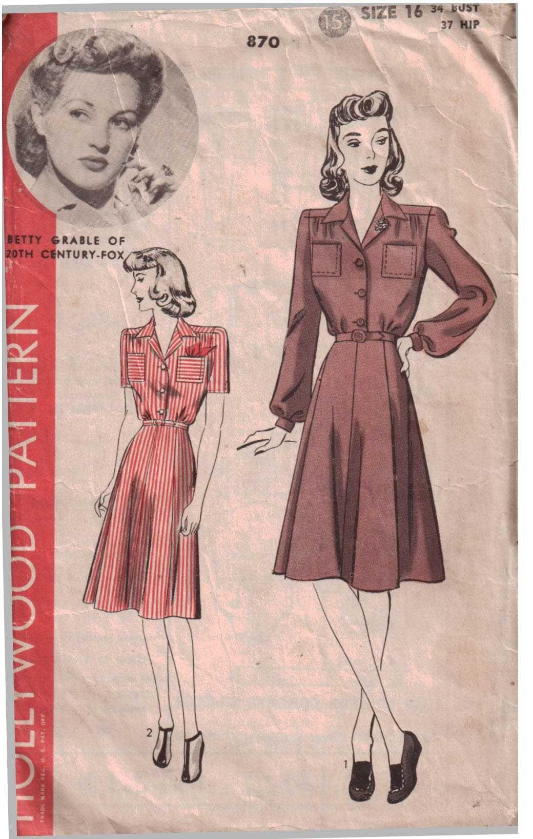 Hollywood Pattern 870 Dress Size 16 Used Vintage Sewing Patterns Vintage Sewing Vintage Dress Patterns