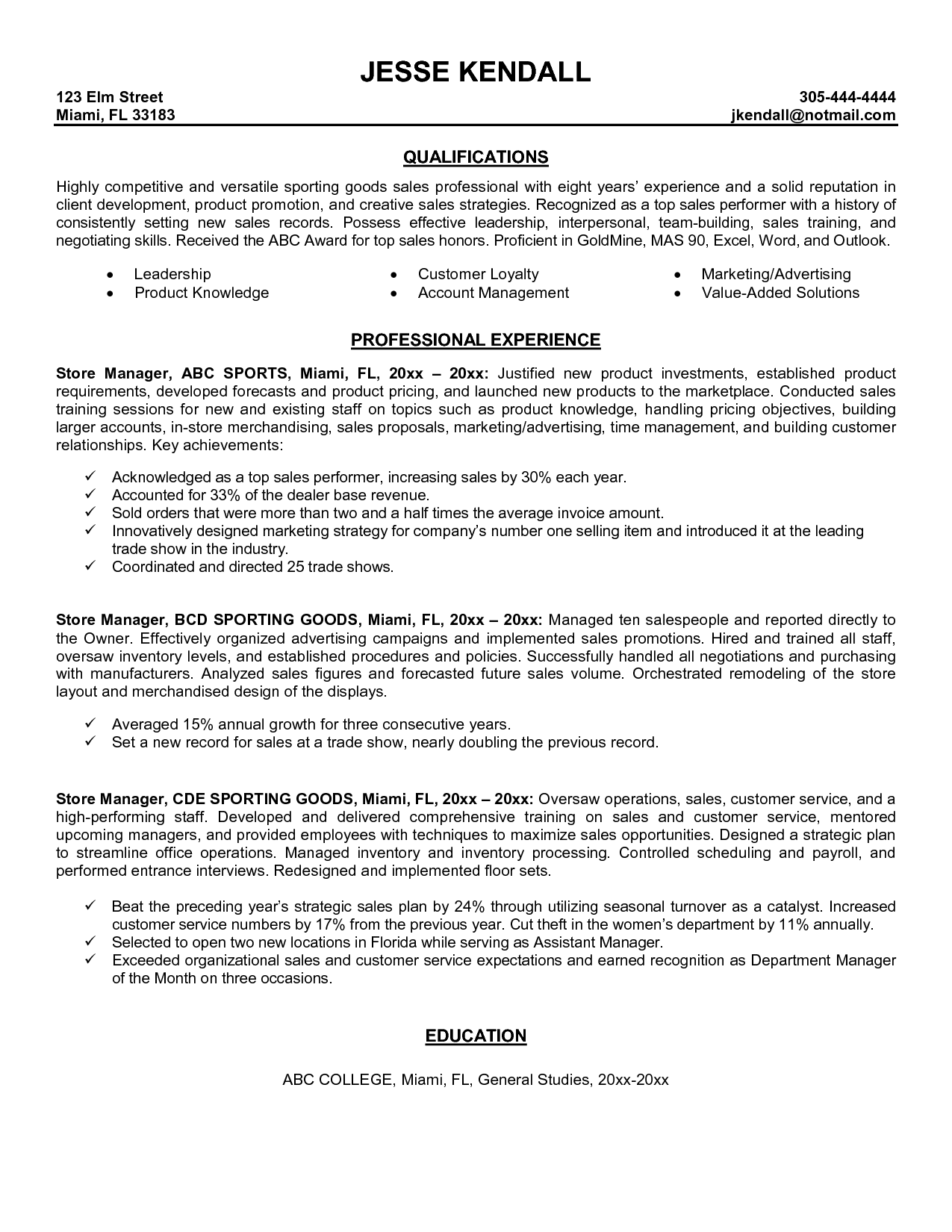 Resume Example Retail Store Manager Examples Best Jobs Naukri