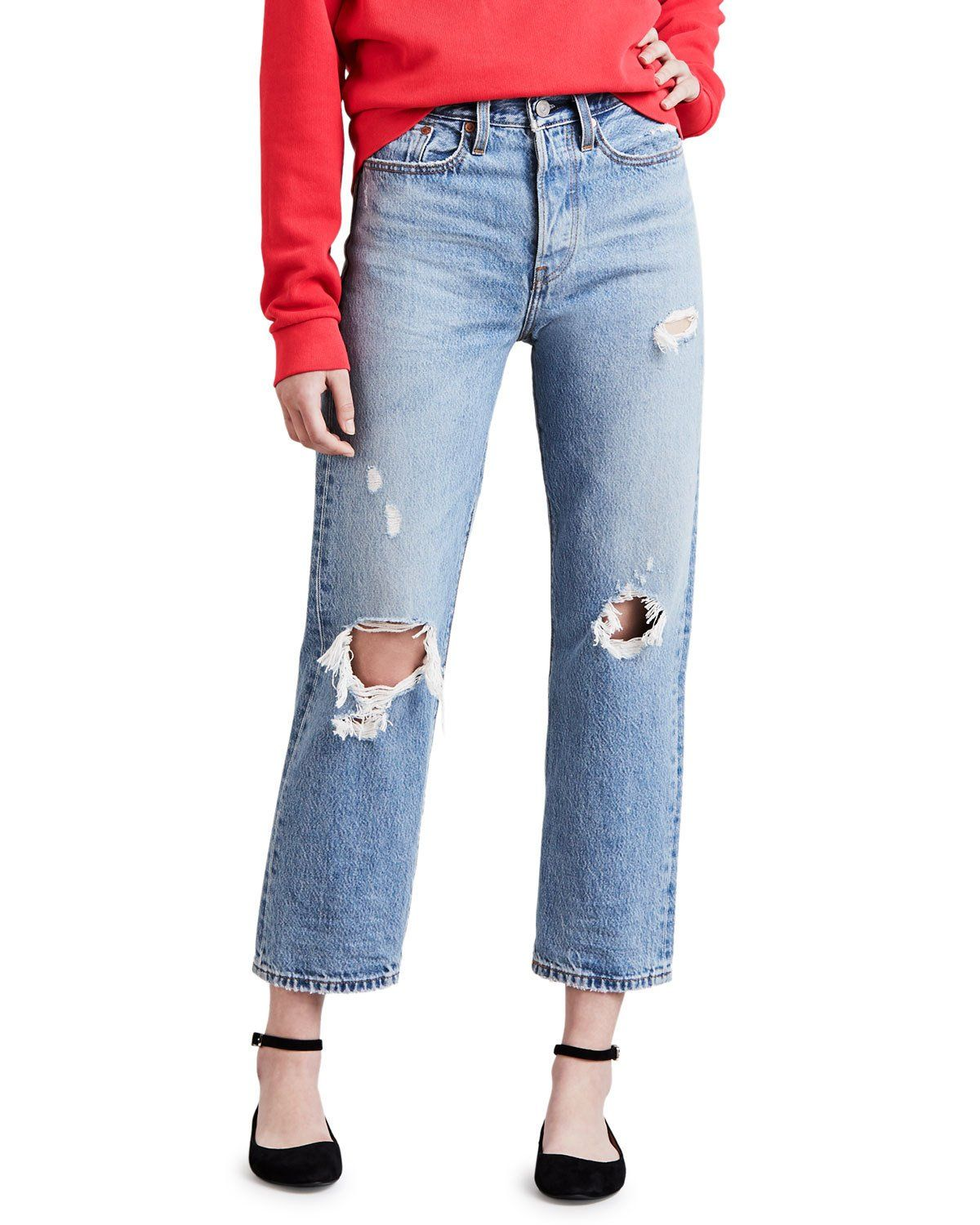 Levi's Premium Wedgie Fit Distressed Straight Leg Cropped