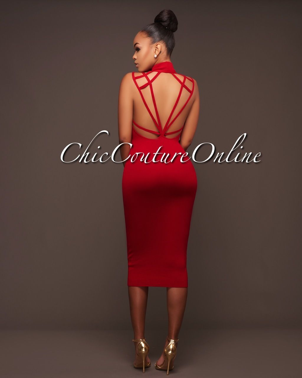 14c175cc5f0d04 Chic Couture Online - Sanjay Deep Red Cut-Out Straps Back Midi Dress