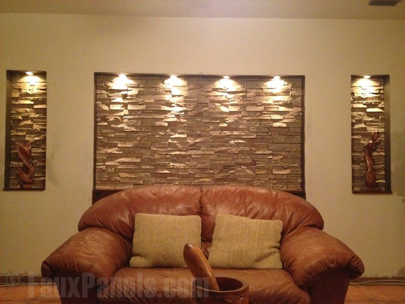 Faux stone accent wall adds lots of elegance easy diy love stacked stone accent wall add lights to really bring out the depth of our stones so easy to do diy install sciox Choice Image