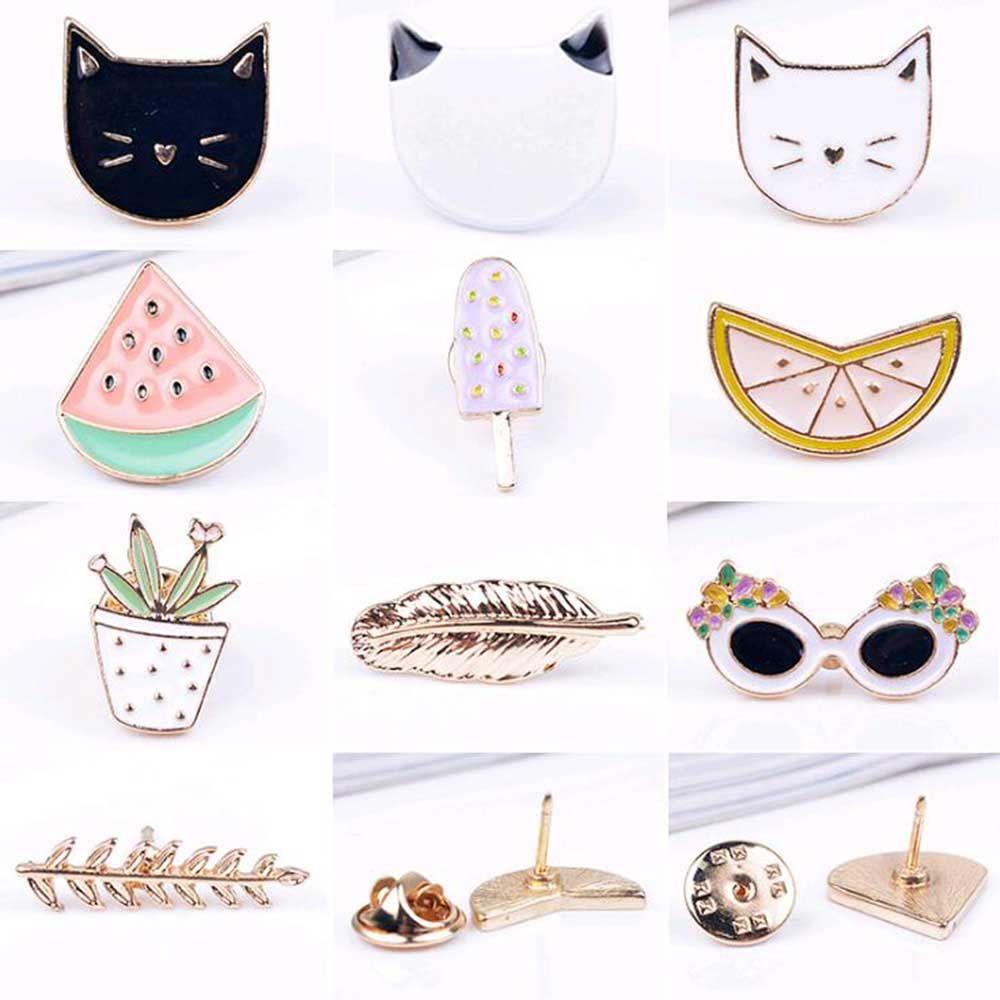 무료 배송 귀여운 과일 고양이 선글래스 잎 orange 냄비 아이스크림 수박 브로치 핀, 패션 보석 도매