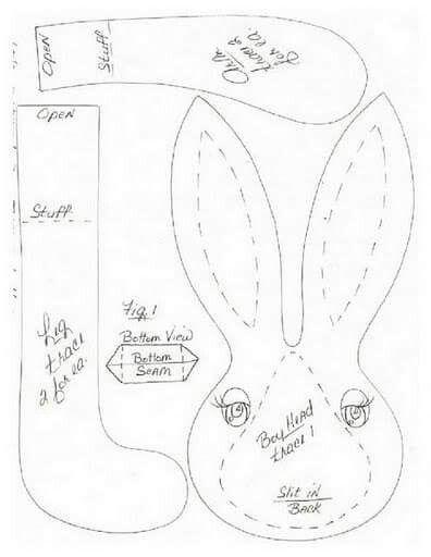 Casal coelhos - molde 1/3