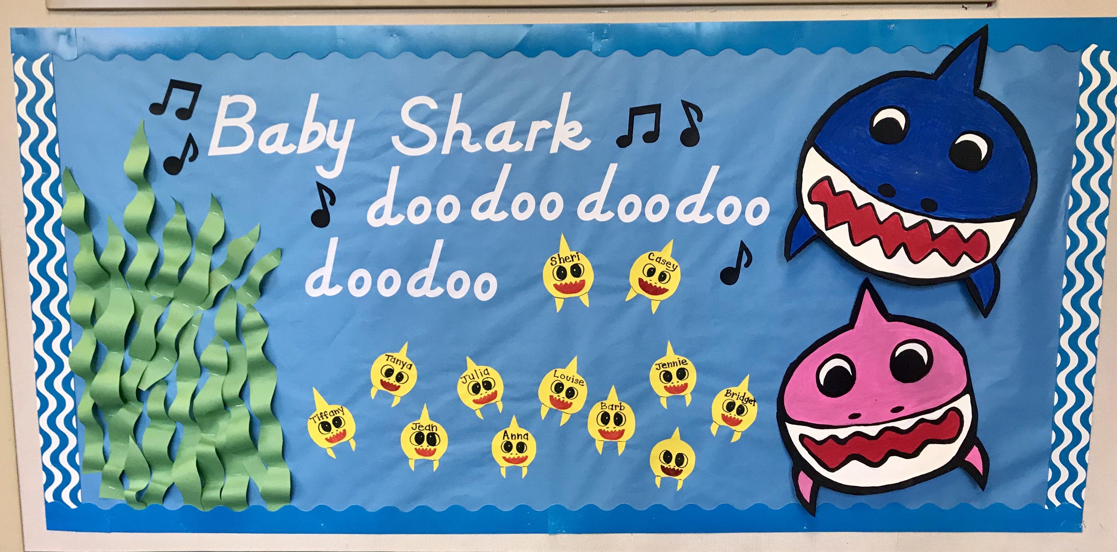 Baby shark bulletin board | Toddler bulletin boards, Kids bulletin boards,  Daycare bulletin boards