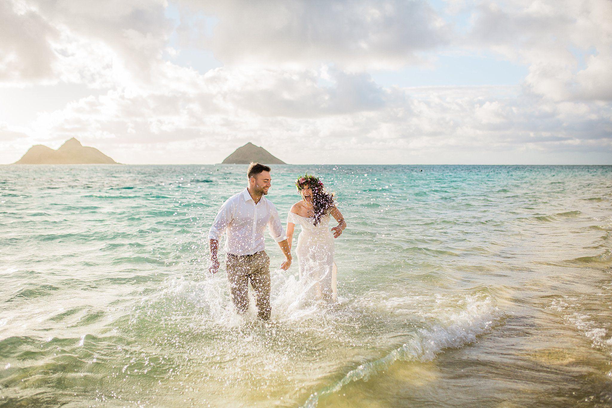 Lanikai Beach Sunrise Wedding Sarah And Tom Hawaii Elopement Lanikai Beach Sunrise Wedding Hawaii Elopement