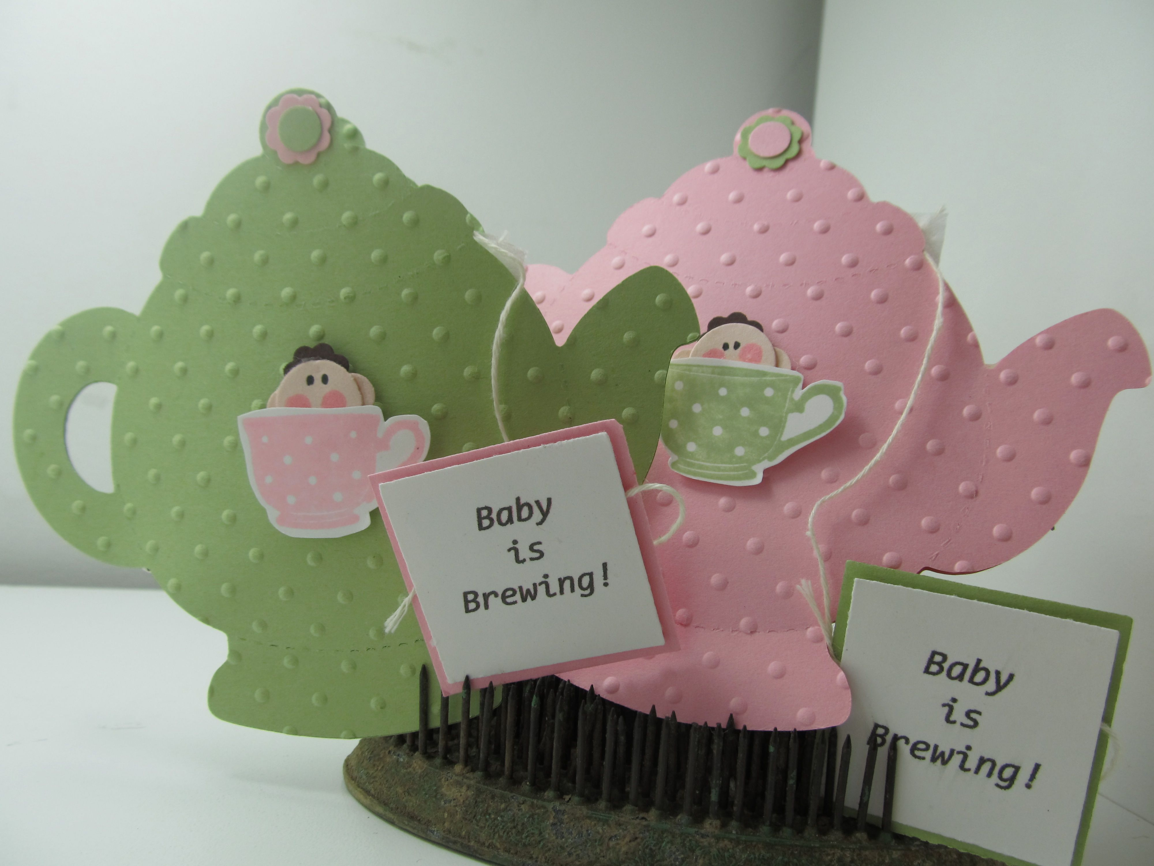 These are baby shower invitations i made for my sister in law and a these are baby shower invitations i made for my sister in law and a baby shower she is throwing teapot is a sizzix diecut teacup stamp is stampin up and filmwisefo Choice Image