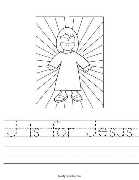 J Is For Jesus Worksheet From Twistynoodle Com Jesus Preschool Crafts Jesus Coloring Pages J Is For Jesus Religious easter worksheets for