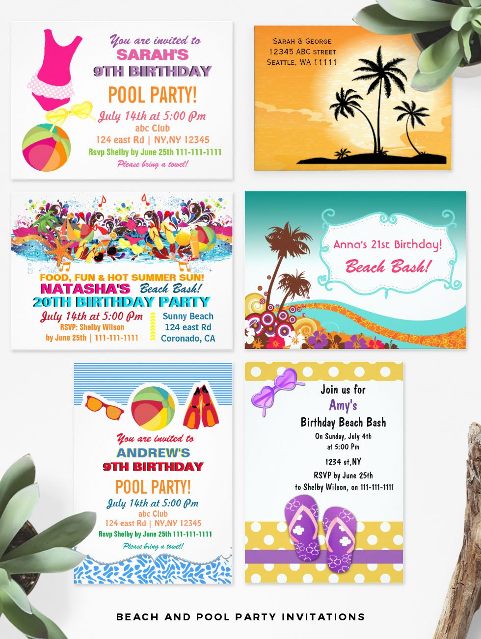 Beach and Pool Party Invitations   Beach Party Invitations ...