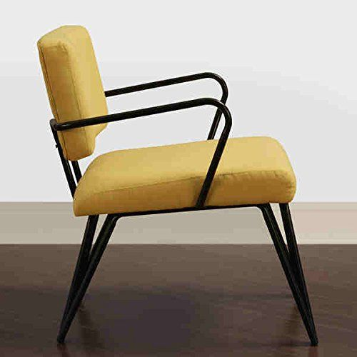 This Mid-century modern chair features a retro yellow colored fabric upholstery on seat and back that is sure to be a crowd pleaser. The Palm Springs chair also offers a black frame that will add a touch of style to any room...