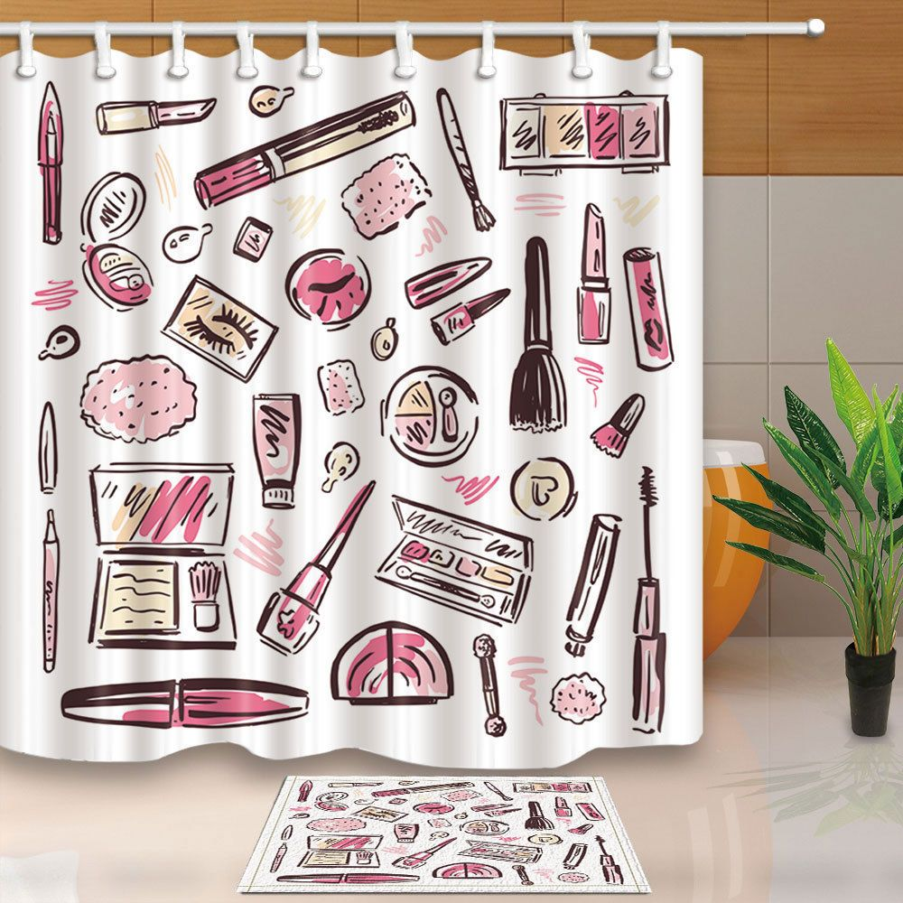 Makeup Products Set Pattern Shower Curtain Bathroom Fabric