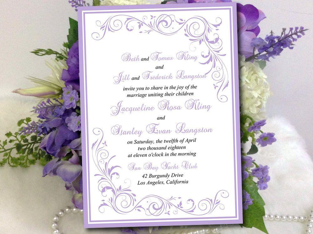DIY Wedding Invitation Template - Lilac Invitation \