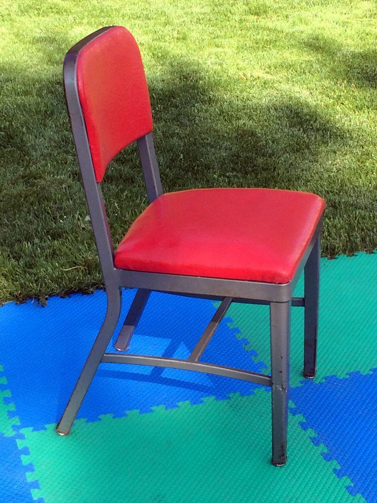 VINTAGE 50s-60s RED VINYL STEEL INDUSTRIAL OFFICE CHAIR ...