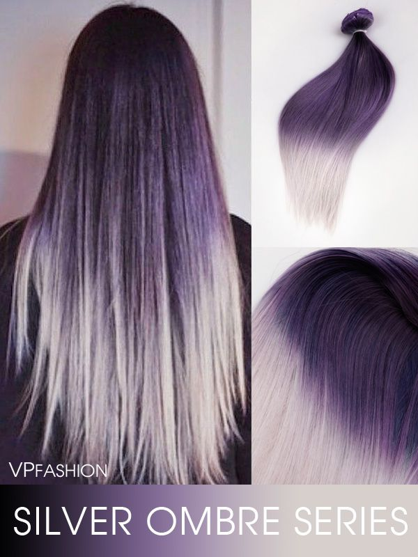 Purple To Granny Silver Two Color Ombre Clip In Hair Extensions