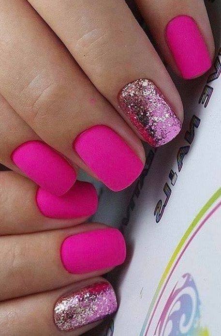 79 Summer Nail Color Designs For Acrylic Glitter Gel Nails In 2020 Summer Nails Colors Designs Glitter Gel Nails Glitter Gel Nail Designs