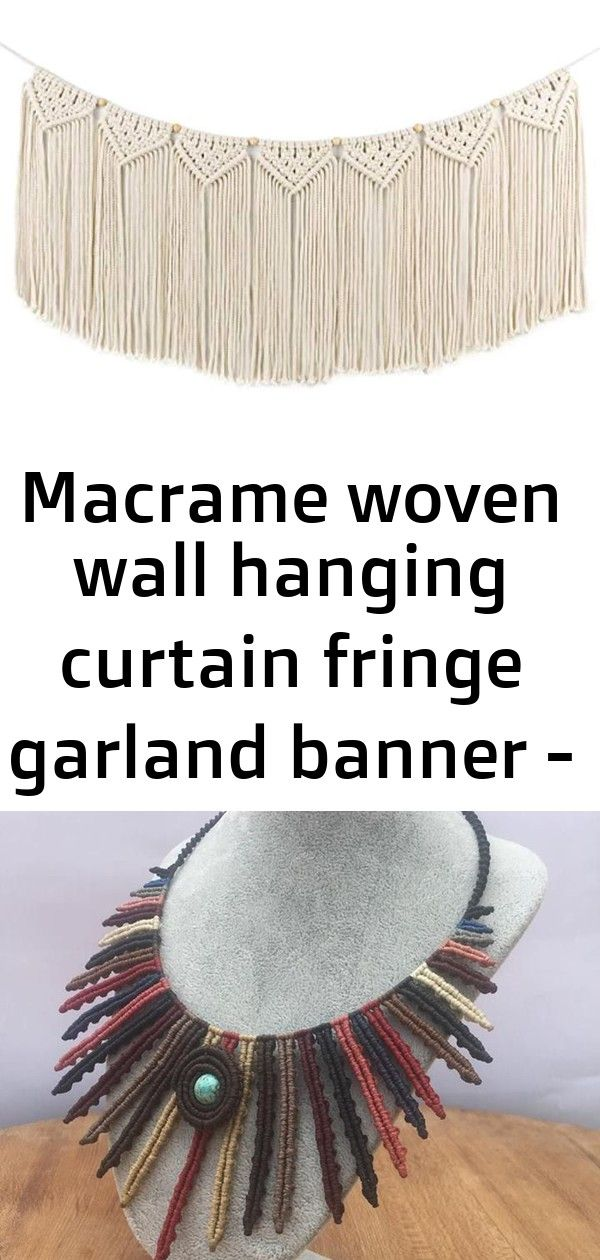 Macrame woven wall hanging curtain fringe garland banner - boho shabby chic bohemian wall decor 8 #curtainfringe