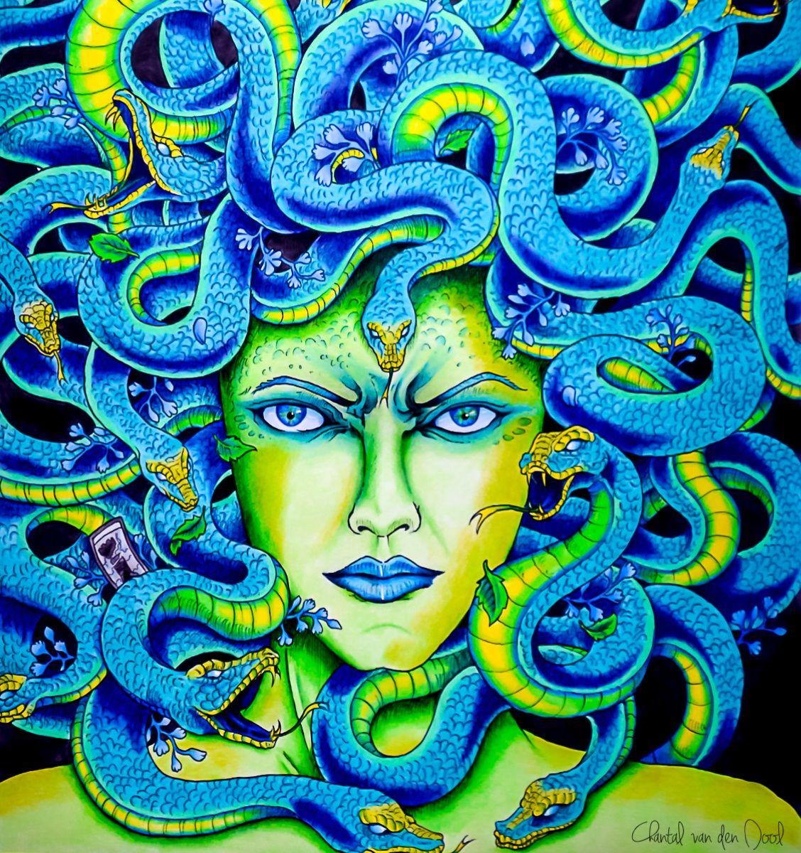 Gorgon Mythomorphia Enchanted Forest Coloring Book Coloring Book Art Animorphia Coloring Book