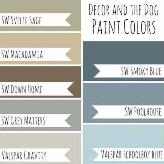 Wandmalerei Wohnzimmer Ideen: Wandfarben-mit-Namen-kühlere-Töne