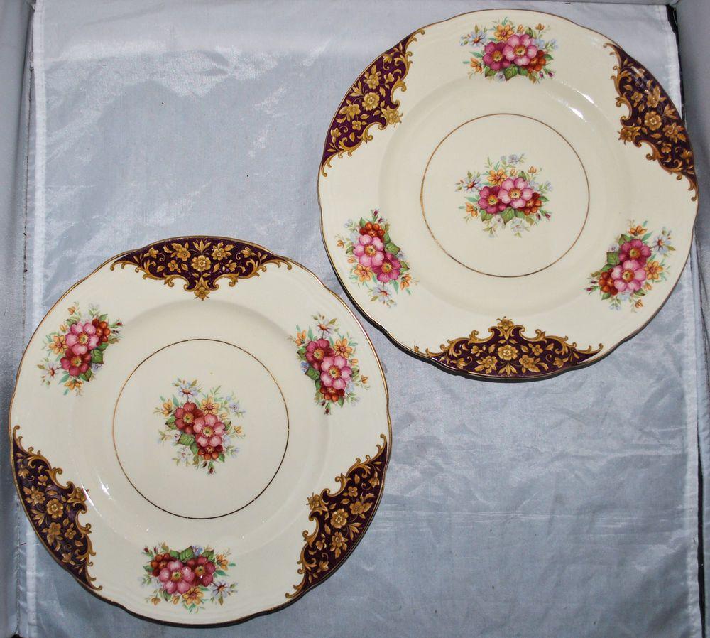 2 x J. Fryer u0026 Son Flower Pattern Small Dinner Plates Made In England & 2 x J. Fryer u0026 Son Flower Pattern Small Dinner Plates Made In ...