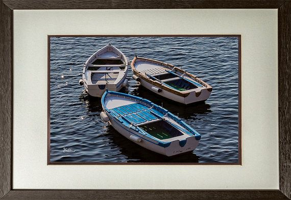 Lonely Boats by ESchossoPhotography on Etsy.  3 small fishing boats moored at anchor in the Castle De Ovo harbor in Naples Italy.  Nautical, Boats, Water, Fishing, # eschossophotography.com #eschossophotography.blogspot.com