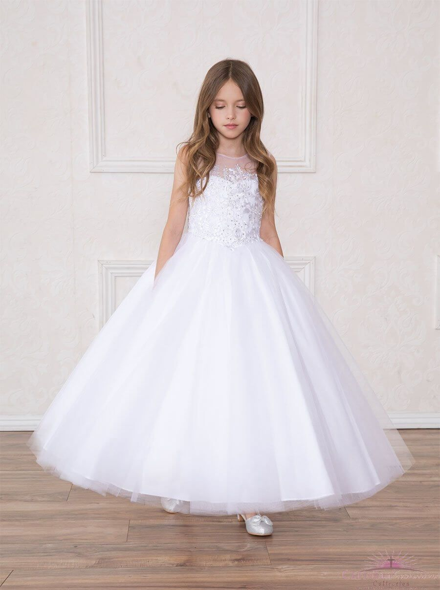 4fc25873a40 Full Length First Communion Dress Floral Applique Bodice Corset ...
