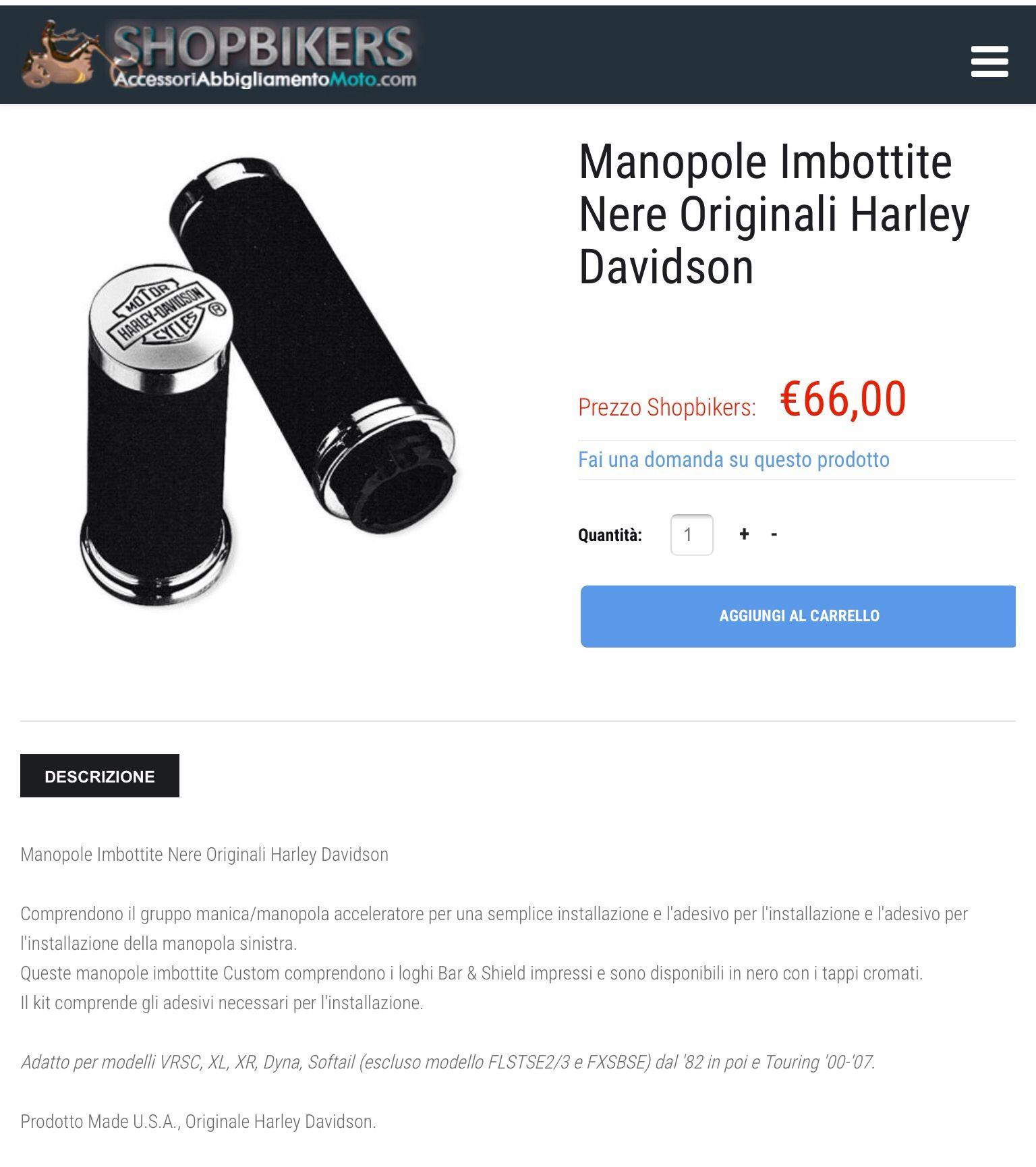 metà prezzo raccolta di sconti nuovi oggetti Manopole Originali Harley-Davidson. Adatta a tutti i modelli ...