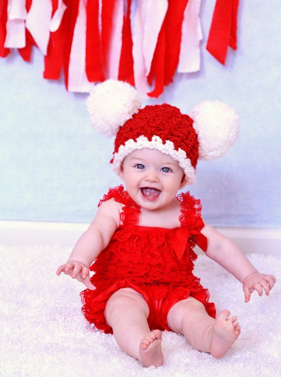 4c4d8c3f04d9a Christmas Baby Hat Baby Santa Hat Baby Girl Hat Baby Boy Hat Pom Pom Hat  Christmas Photo Prop Red Wh