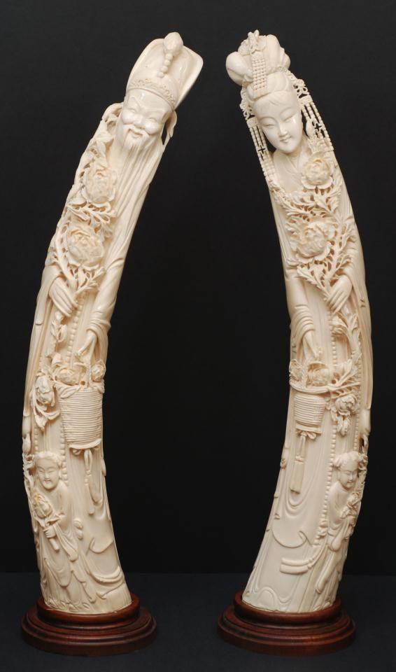 Pair of carved ivory figures emperor empress