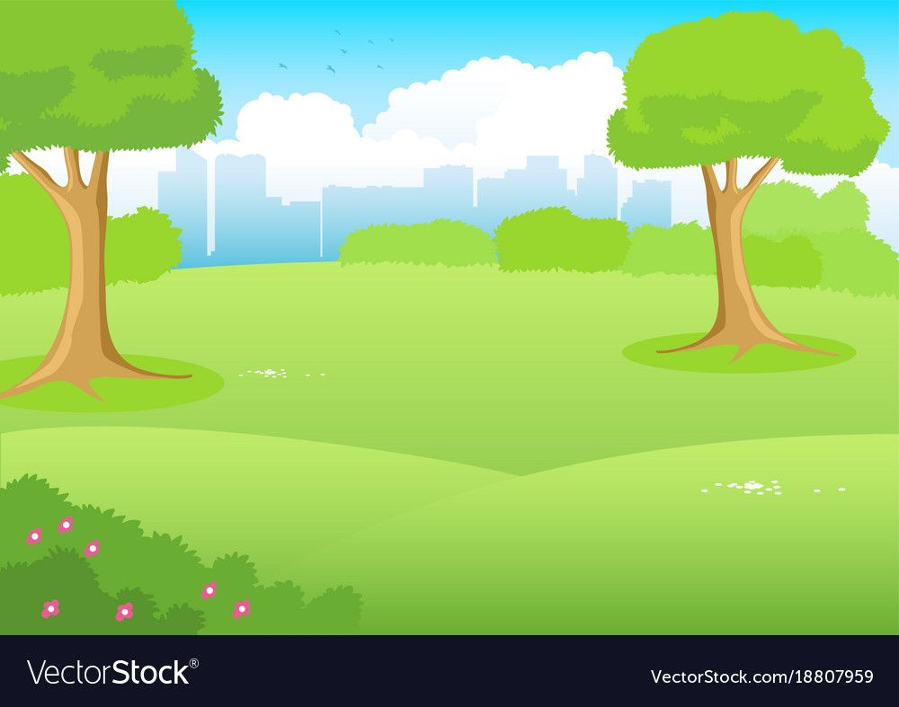 Cartoon Illustration Of A Park With Cityscape As The Background Download A Free Preview Or High Quality Adobe Illustra In 2020 Vector Clipart Cartoons Vector Clip Art