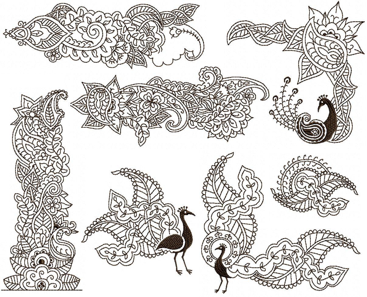 White henna design 5 five white henna designs - Mehndi Peacock Set For 5 X7