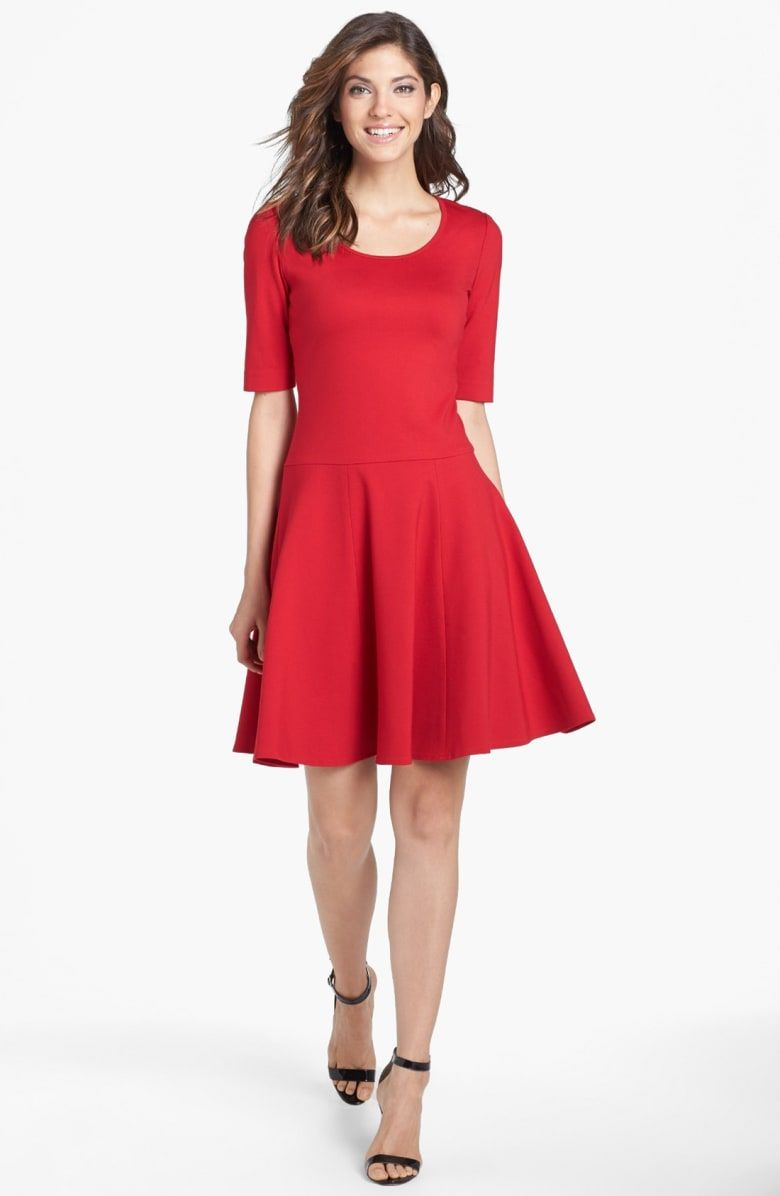 Free shipping and returns on eliza j ponte knit fit u flare dress at