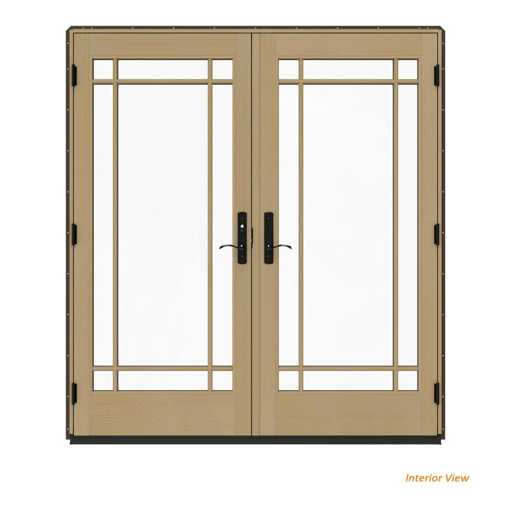 Jeld Wen 72 In X 80 In W 4500 Brown Clad Wood Right Hand 9 Lite French Patio Door W Unfinished Interior Dark Chocol French Doors Patio Clad Wood Patio Doors