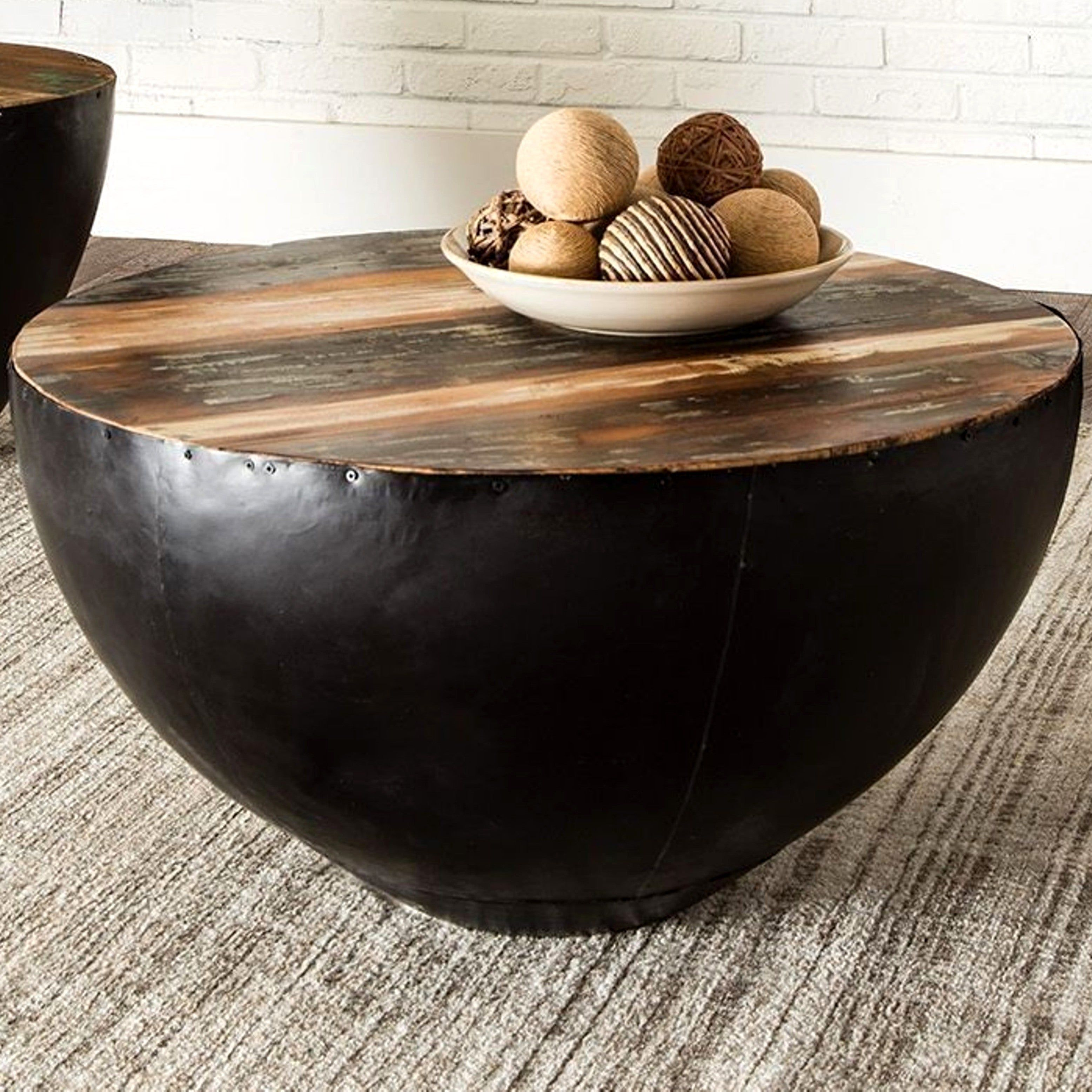 Best Black Iron Drum Shaped Accent Coffee Table With Natural 640 x 480