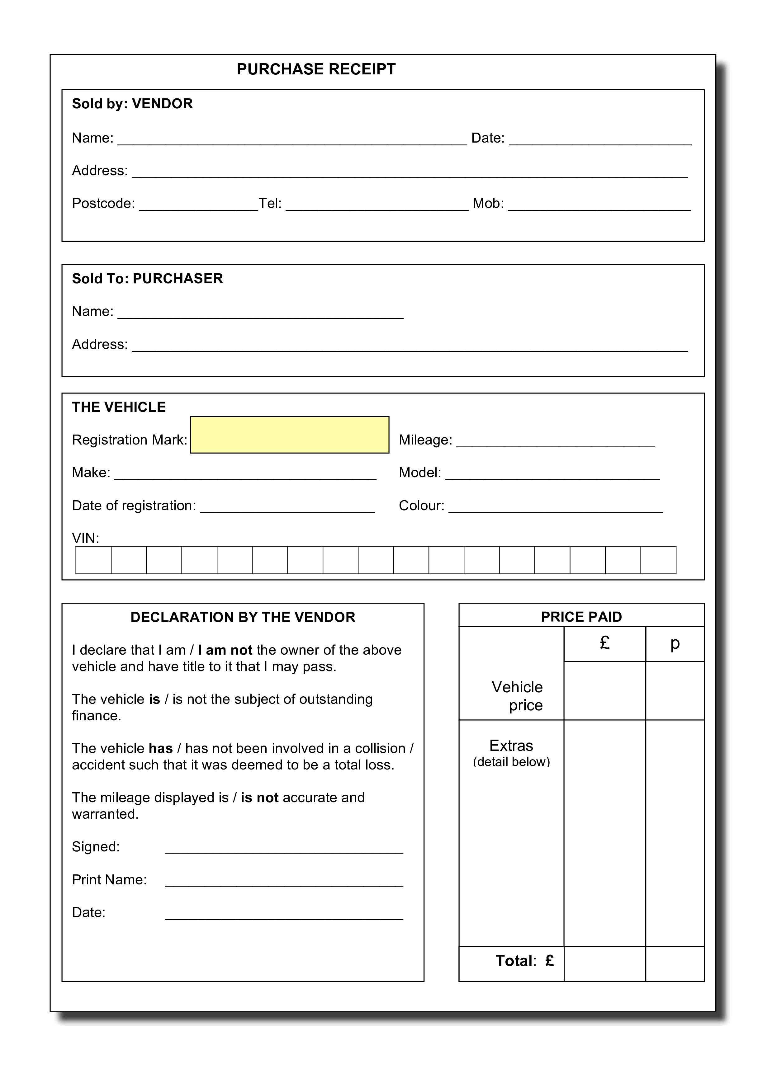 Microsoft Word - Purchase_Receipt.Doc - | templates | Pinterest ...