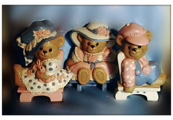 Burwood Sitting Bear Plaques  Vintage by PurePoetrysEmporium