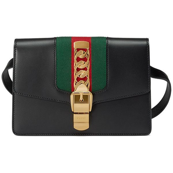 4a8f9b5b2a95 Gucci Sylvie belt bag ($1,980) ❤ liked on Polyvore featuring bags, handbags,  black, bum bag, leather crossbody bags, leather bags, gucci fanny pack and  ...